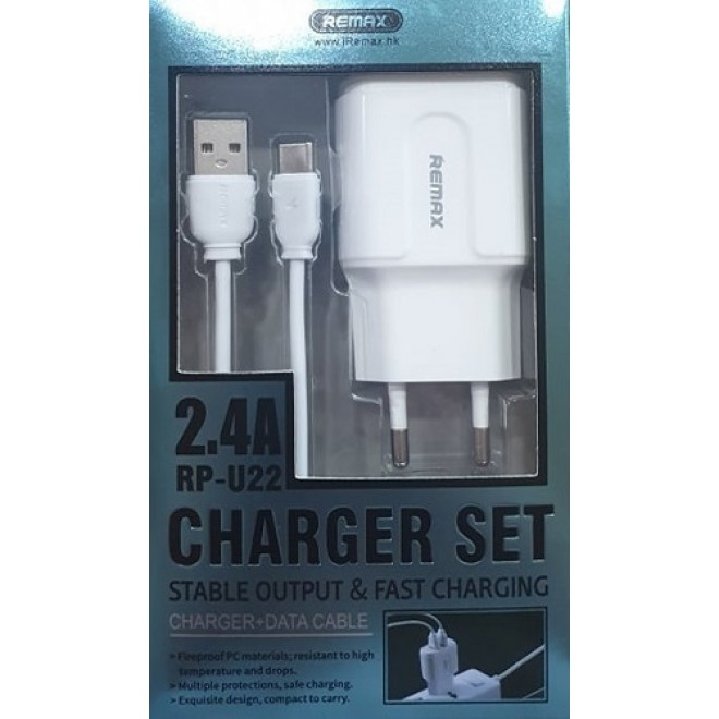 REMAX Travel Charger RP-U22 2.4A  2xUSB + Data cable Micro USB